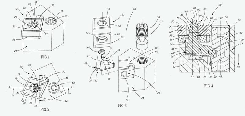 Dispositivo de sujeción con apéndices de sujeción independientemente resilientes para sujetar un inserto de corte en un portaherramientas.