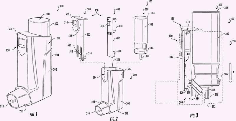 Medidor de inhalador de dosis medida con botón e inhalador de dosis medida incluyendo tal medidor.