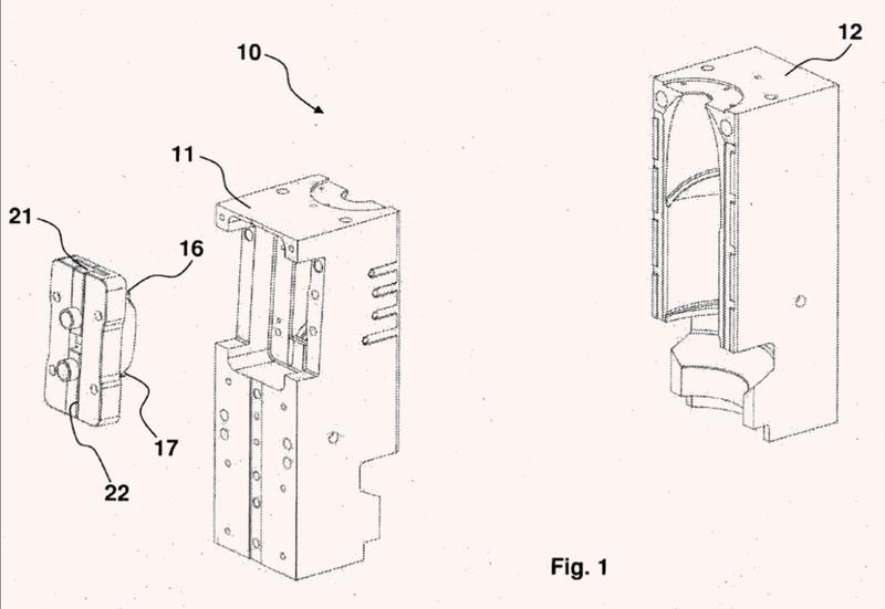 Molde para envases termoplásticos obtenidos mediante moldeo por soplado.