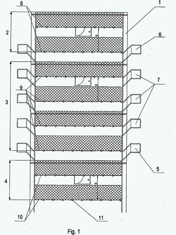 Un secador de tipo estante a contracorriente con estantes móviles para el secado de aglomerados de resistencia mecánica baja.