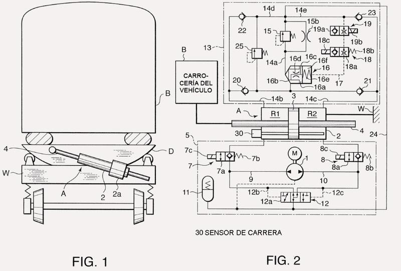 Dispositivo de inclinación de la carrocería de un vehículo para un vehículo ferroviario.