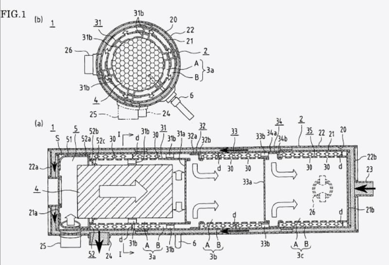 Intercambiador de calor del gas de escape del motor y dispositivo de suministro de energía que lo utiliza.