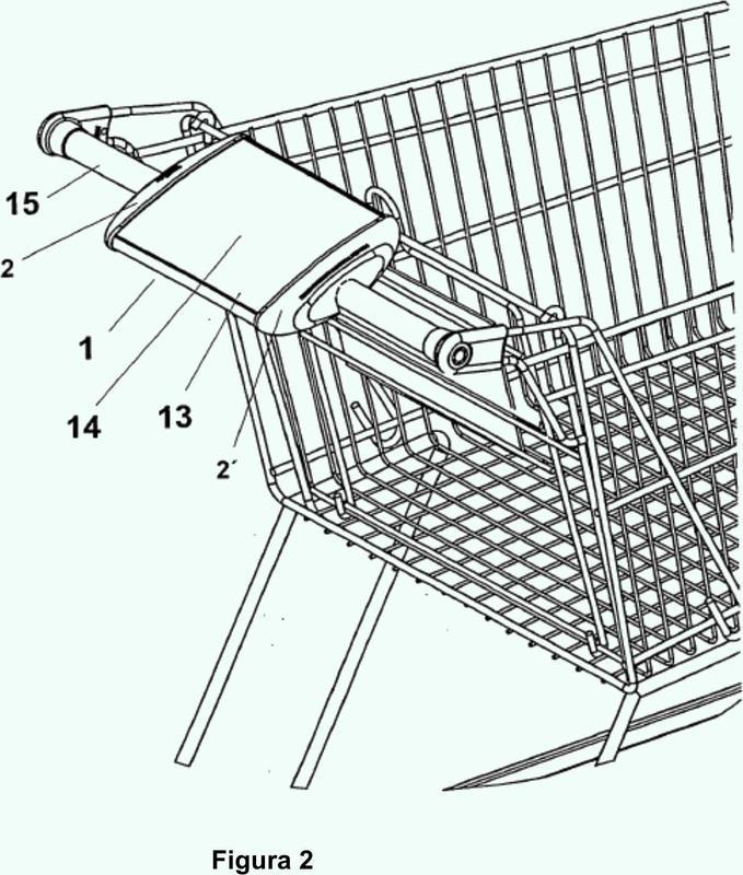Elemento de visualización para la colocación de publicidad en el asa de un carrito de compra.
