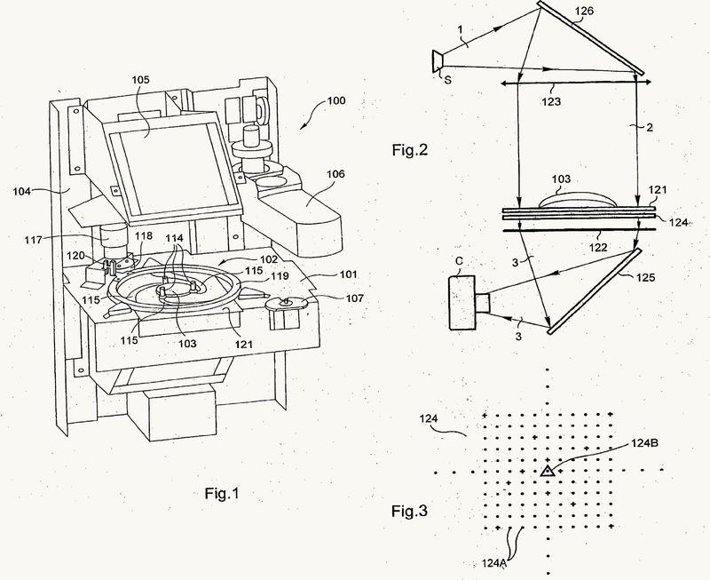 Dispositivo centrador-bloqueador de una lente oftálmica para gafas, método de detección automática y métodos de centrado manual asociados.