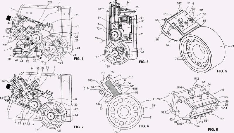 Máquina de imprimir de tampón rotatorio.
