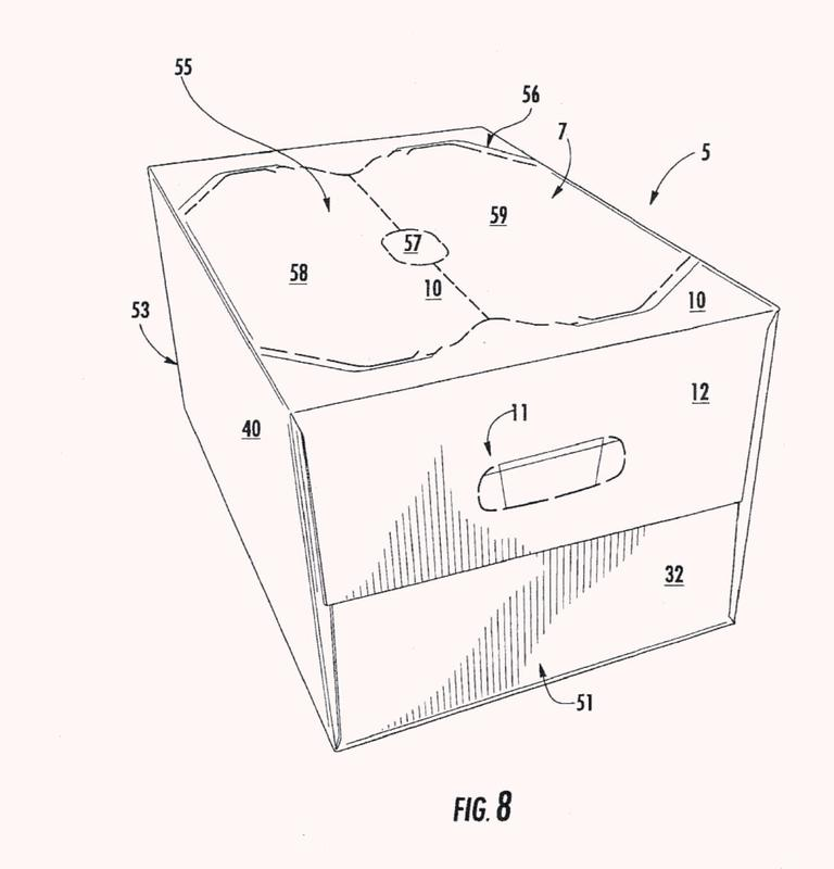 Caja de cartón con elemento postizo.