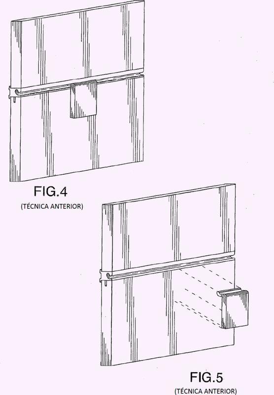 Panel de lámina de hierro con hendidura horizontal para tabicado de espacio interior.
