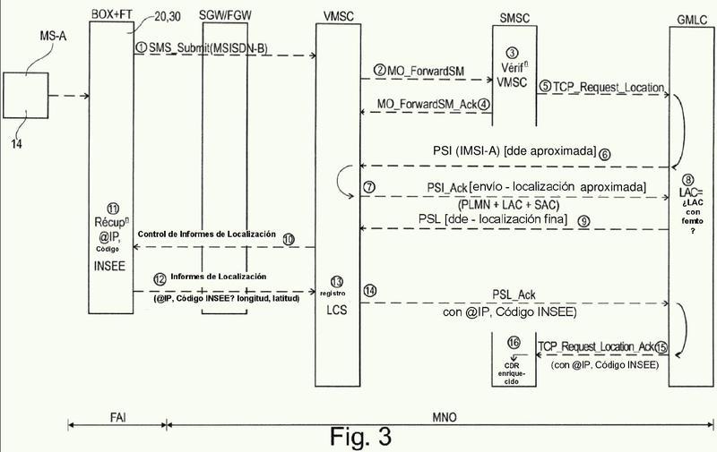 Procedimiento de localización fina de un SMS emitido por un equipo de usuario móvil en una red de telecomunicaciones que emplea femtoceldas en modalidad abierta.