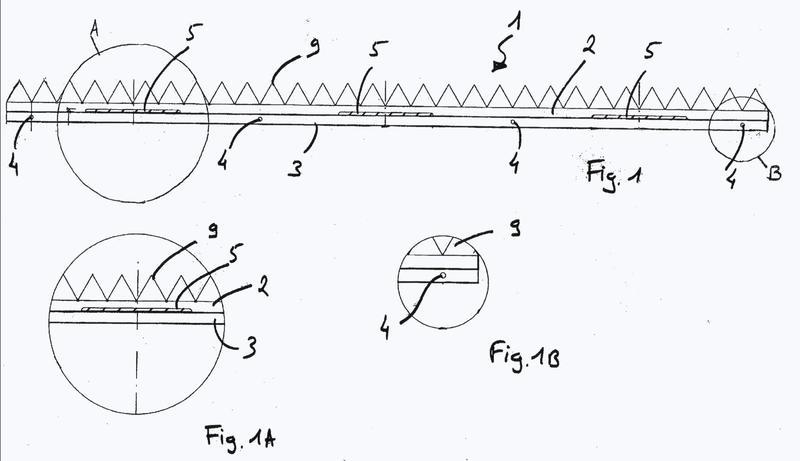 Dispositivo de tipo rastra que comprende una base y elementos puntiagudos.