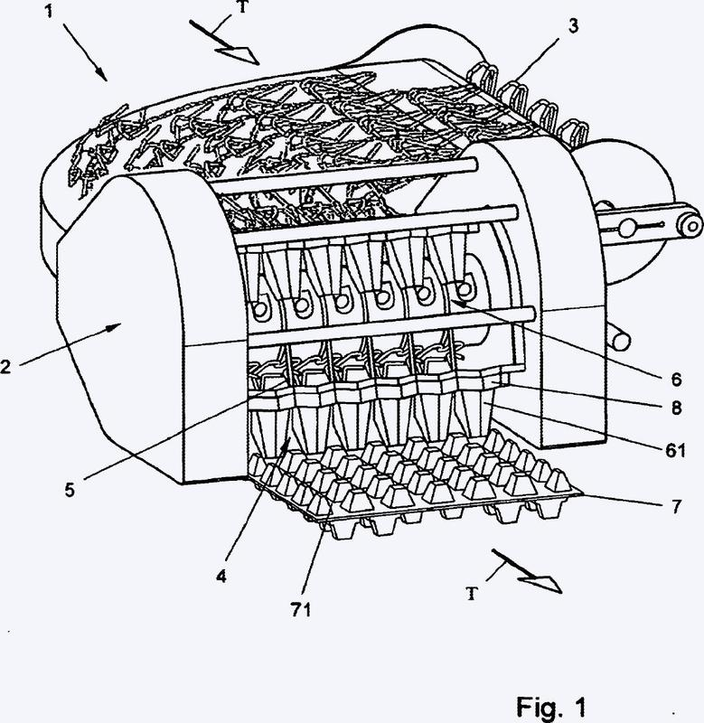 Aparato y método para la alimentación de huevos a una unidad de empaque.