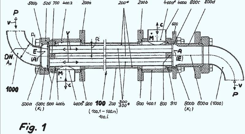 Dispositivo para influir en el flujo en la zona de una placa tubular de un intercambiador de calor de carcasa y tubos.