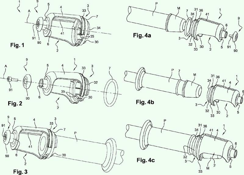 Dispositivo de sujeción de un forro de protección de una mano sobre el puño de un manillar de motocicleta.