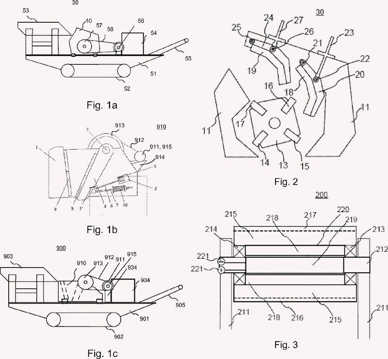 Accionamiento de los elementos giratorios de una trituradora.
