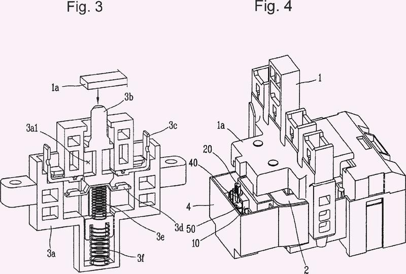 Mecanismo de contacto auxiliar de contactor electromagnético.