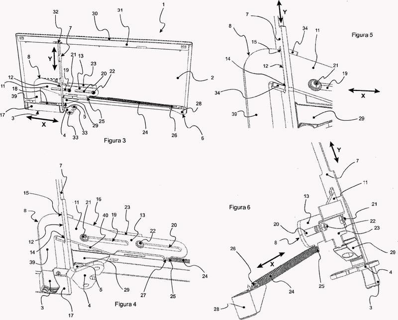 Dispositivo de fijación amovible de un panel de separación de espacios a un plano de trabajo de oficina.