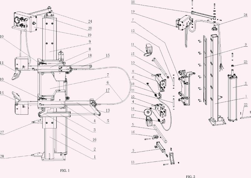 Brazo asistente para cambiador de neumáticos de automóvil y método para la fabricación de las partes principales del brazo asistente.
