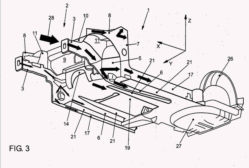 Estructura de carrocería, especialmente estructura de suelo, para un vehículo automóvil.