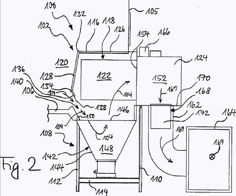 Dispositivo de filtración y procedimiento para la separación de sobrepulverización de barniz húmedo.