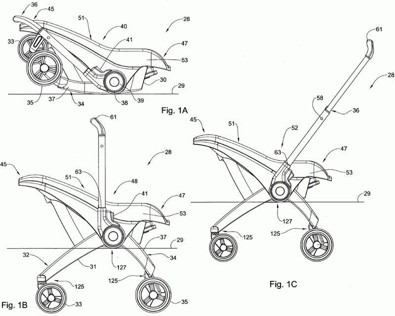 Asiento de seguridad de coche para bebés convertible en un asiento de bebe rodante.