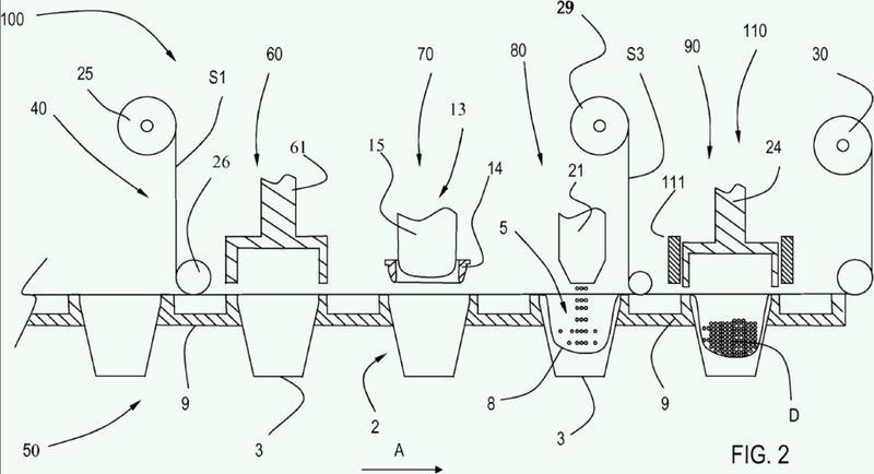 Método y máquina para fabricar cápsulas de un solo uso para bebidas.