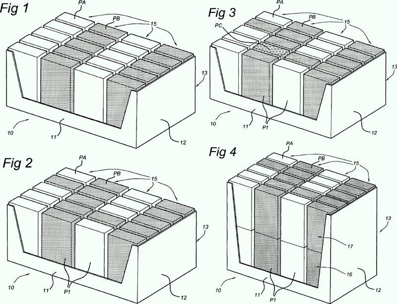 Dispositivo de embalaje para embalar artículos en una mezcla de variedades en una caja de embalar, y procedimiento de este tipo de embalaje.