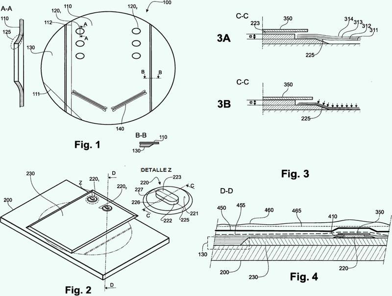Procedimiento y dispositivo para la realización de un orificio con reborde en un panel compuesto.
