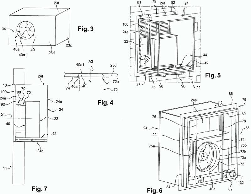 Sistema de refrigeración, climatización o calefacción con medios de separación de aire telescópicos.
