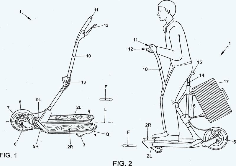 Vehículo controlable por desplazamiento del peso con tabla rodante dividida en dos partes.