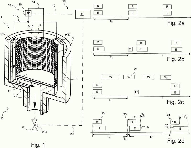 Procedimiento para el funcionamiento de un filtro de agua retrolavable con función de limpieza electrolítica.