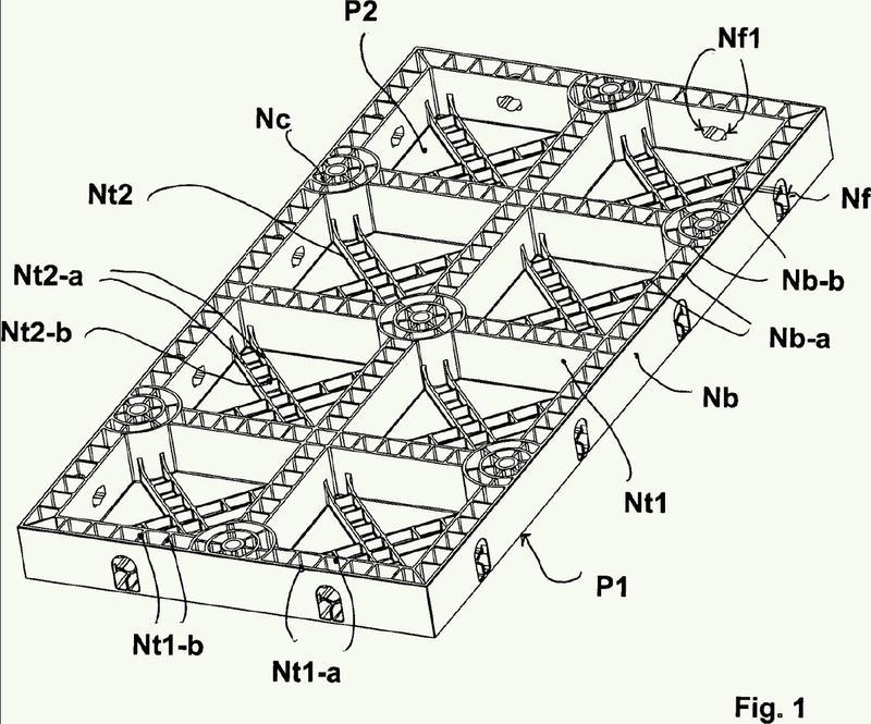 Encofrado modular reutilizable con nervaduras mejoradas.