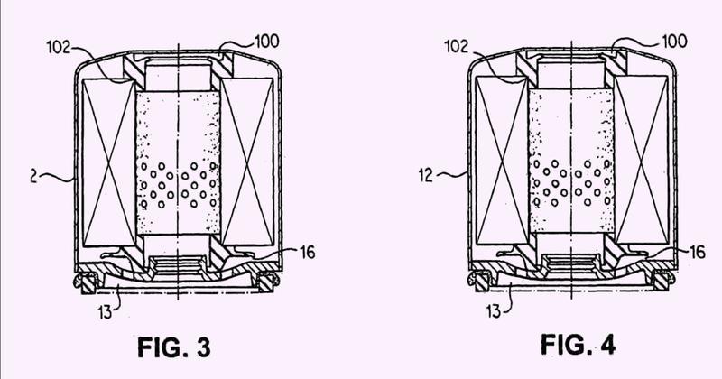 Combinación de elemento elástico de una pieza con soporte en la parte inferior y cierre estanco del extremo de la válvula de descarga, para filtros para fluidos.