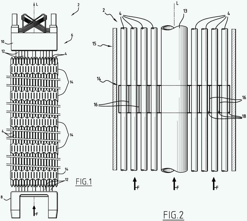 Banda para rejilla separadora de conjunto de combustible nuclear.