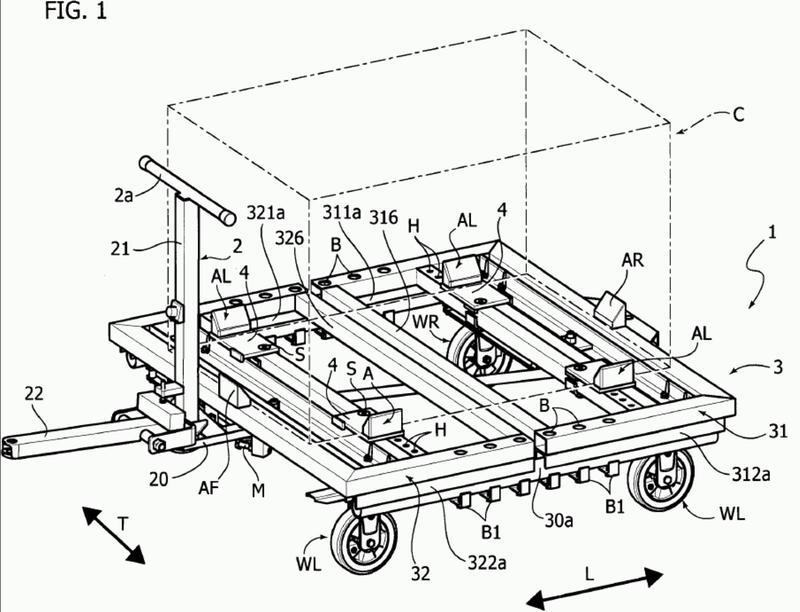 Carretilla para el transporte de contenedores para piezas o componentes en una planta industrial.