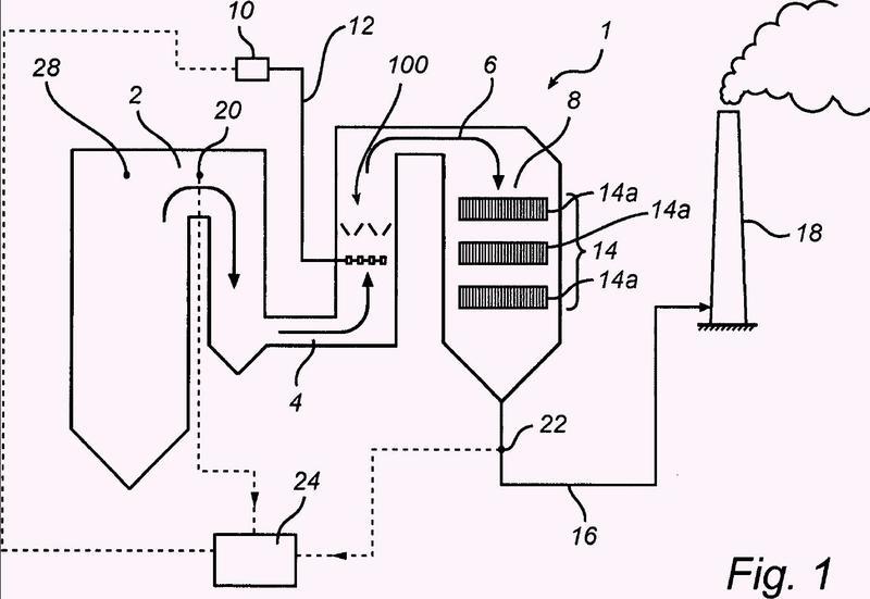 Disposición para inyectar un agente reductor en un gas de combustión.