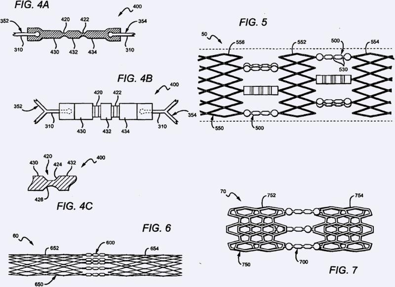 Estent flexible con conectores articulados.