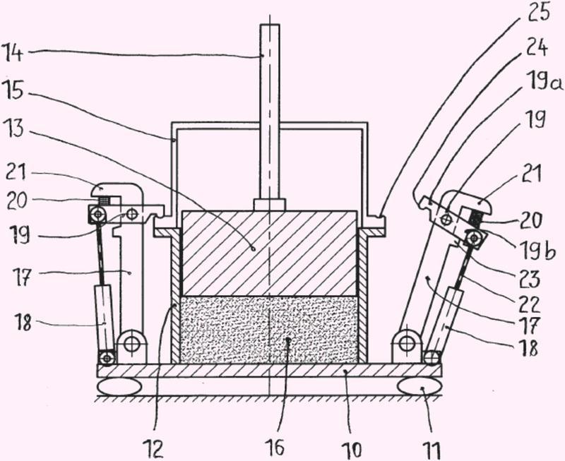 Máquina vibratoria para producir cuerpos moldeados mediante compactación.