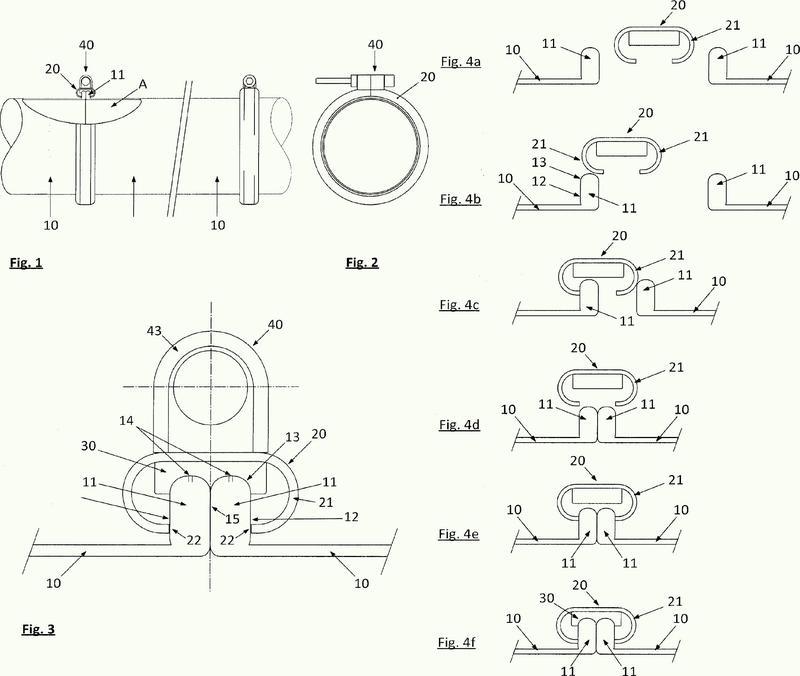 Unión a tope de dos secciones de tubo con anillo de sujeción.
