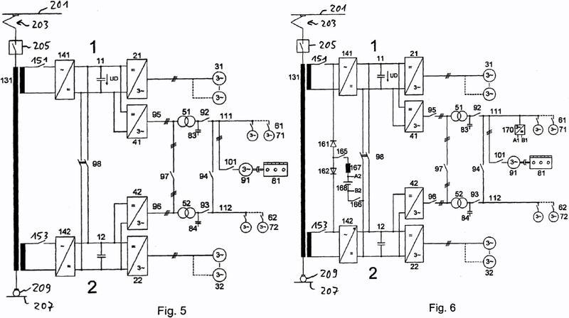 Disposición para hacer funcionar consumidores en un vehículo sobre rieles con energía eléctrica, opcionalmente desde una red de suministro de energía o desde una combinación-motor-generador.