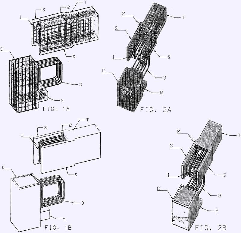 Una junta entre elementos de viga y columna fabricados con hormigón armado prefabricado.