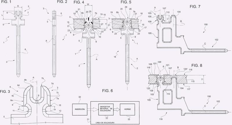 Clavija de contacto soldable para placas de circuito impreso y proceso para la fabricación de un dispositivo electrónico.