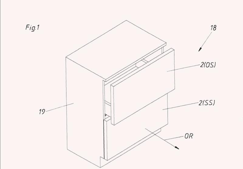 Guía de extracción para una pieza de mueble móvil.