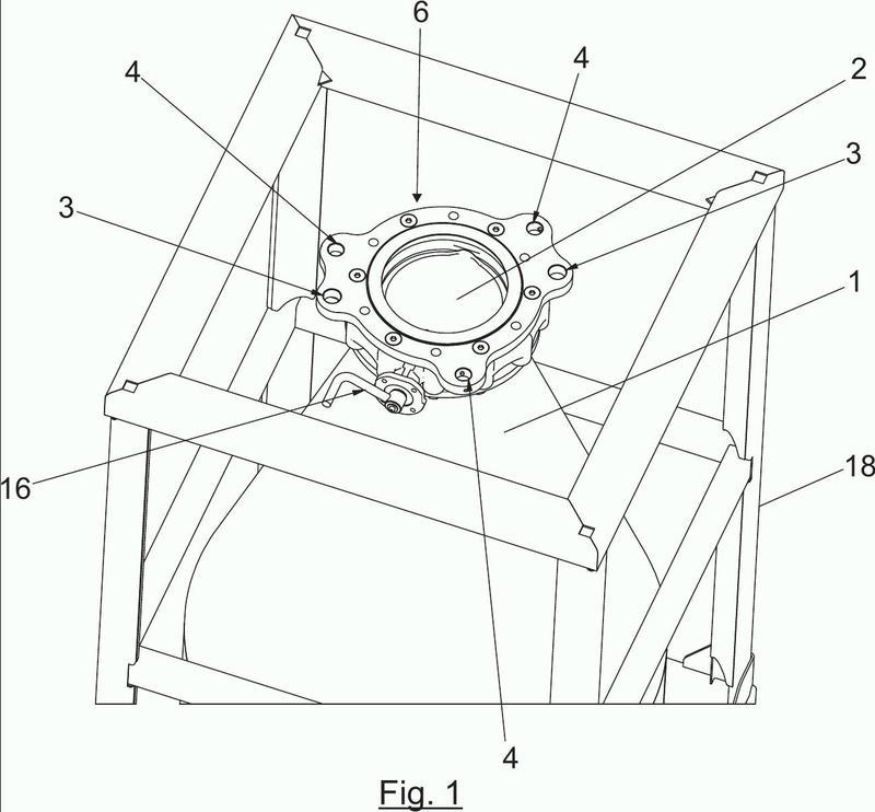 Mecanismo de descarga de contenedor en estación de descarga.