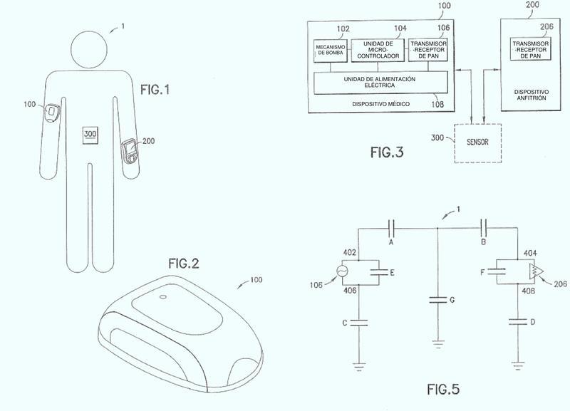 Bomba de infusión portátil que tiene comunicación por acoplamiento capacitivo y mecanismo de recuperación de energía.