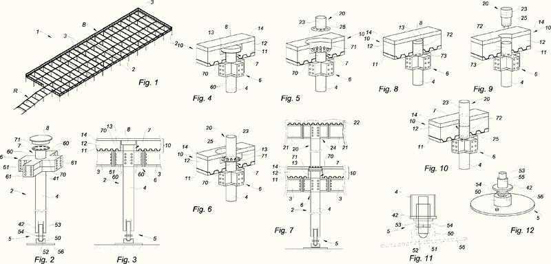 Elemento estructural portador de un suelo para una armadura metálica de estacionamiento de vehículos evolutiva.