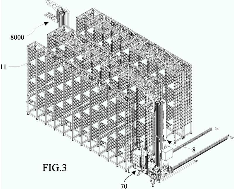 Un aparato para almacenamiento y recuperación de grandes volúmenes de tubos de ensayo.