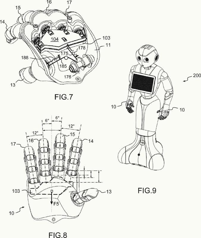 Accionamiento de una mano destinada a equipar un robot de carácter humanoide.