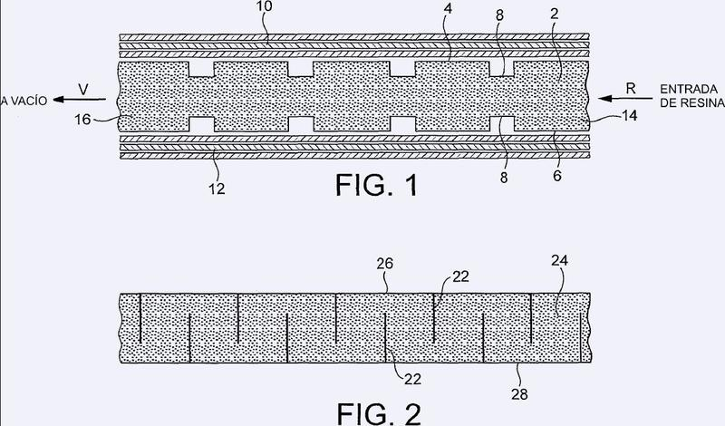 Núcleo de espuma para un artículo laminado compuesto, y su fabricación.
