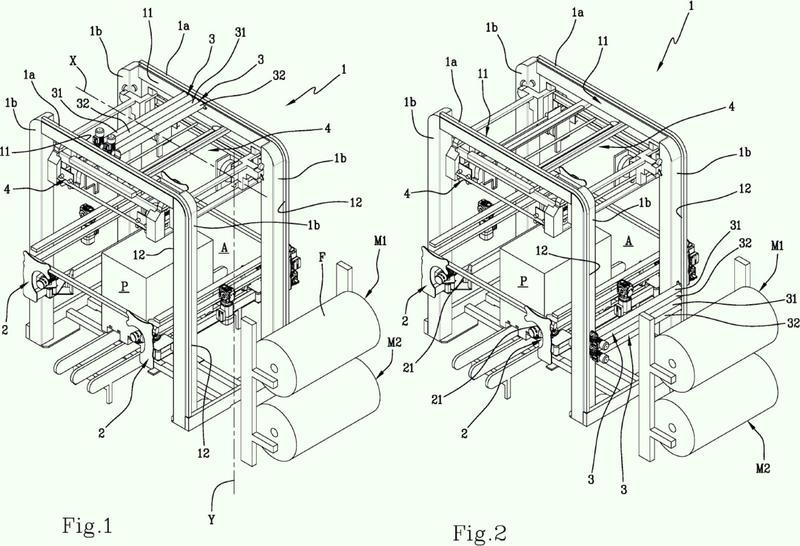 Una máquina para el embalaje de palés.