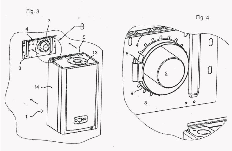 Dispositivo de calefacción con conexión trasera para un tubo de gas de escape de aire fresco coaxial.