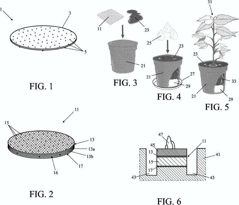 Almohadilla para el almacenamiento y el suministro de agua en una maceta de planta de interior o en el suelo.